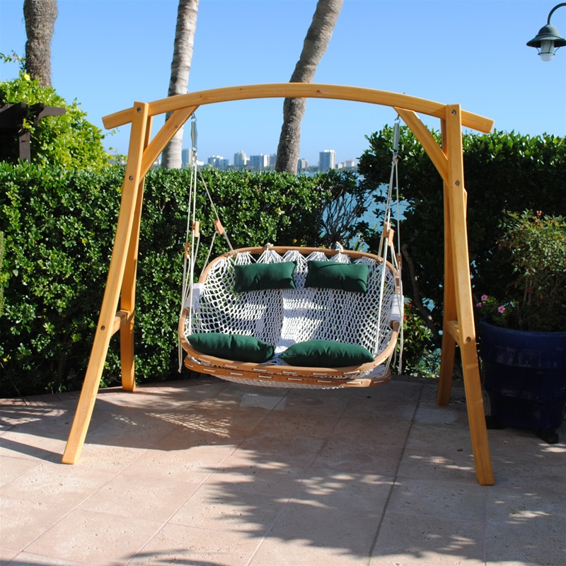 Backyard Hammock Swing : Double Outdoor Swing with Footrest and Cypress Stand