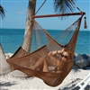 Large Caribbean Hammock Chair with Footrest (MOCHA POLYESTER)
