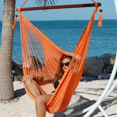 Large Caribbean Hammock Chair with Footrest (ORANGE POLYESTER)