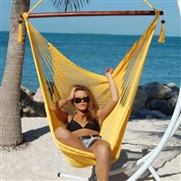 Large Caribbean Hammock Chair with Footrest (YELLOW POLYESTER)