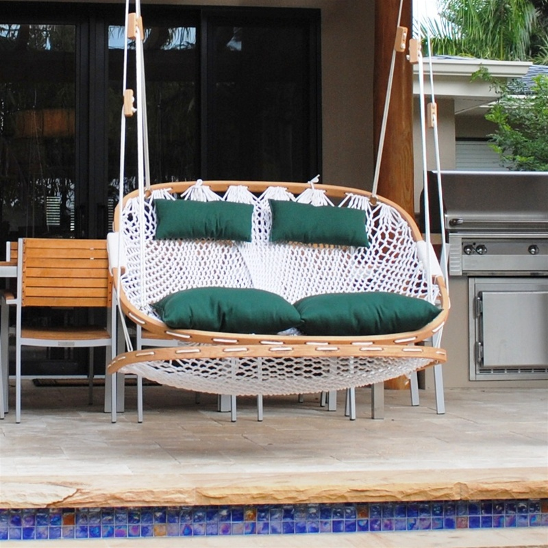Double Outdoor Swing With Footrest