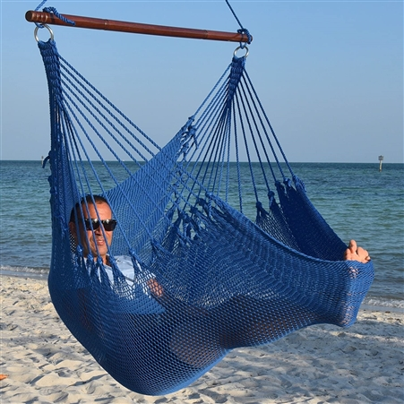 Jumbo Caribbean Hammock Chair Dark Blue 55 Inch