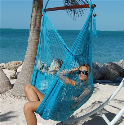 Large Caribbean Hammock Chair with Footrest (LIGHT BLUE)