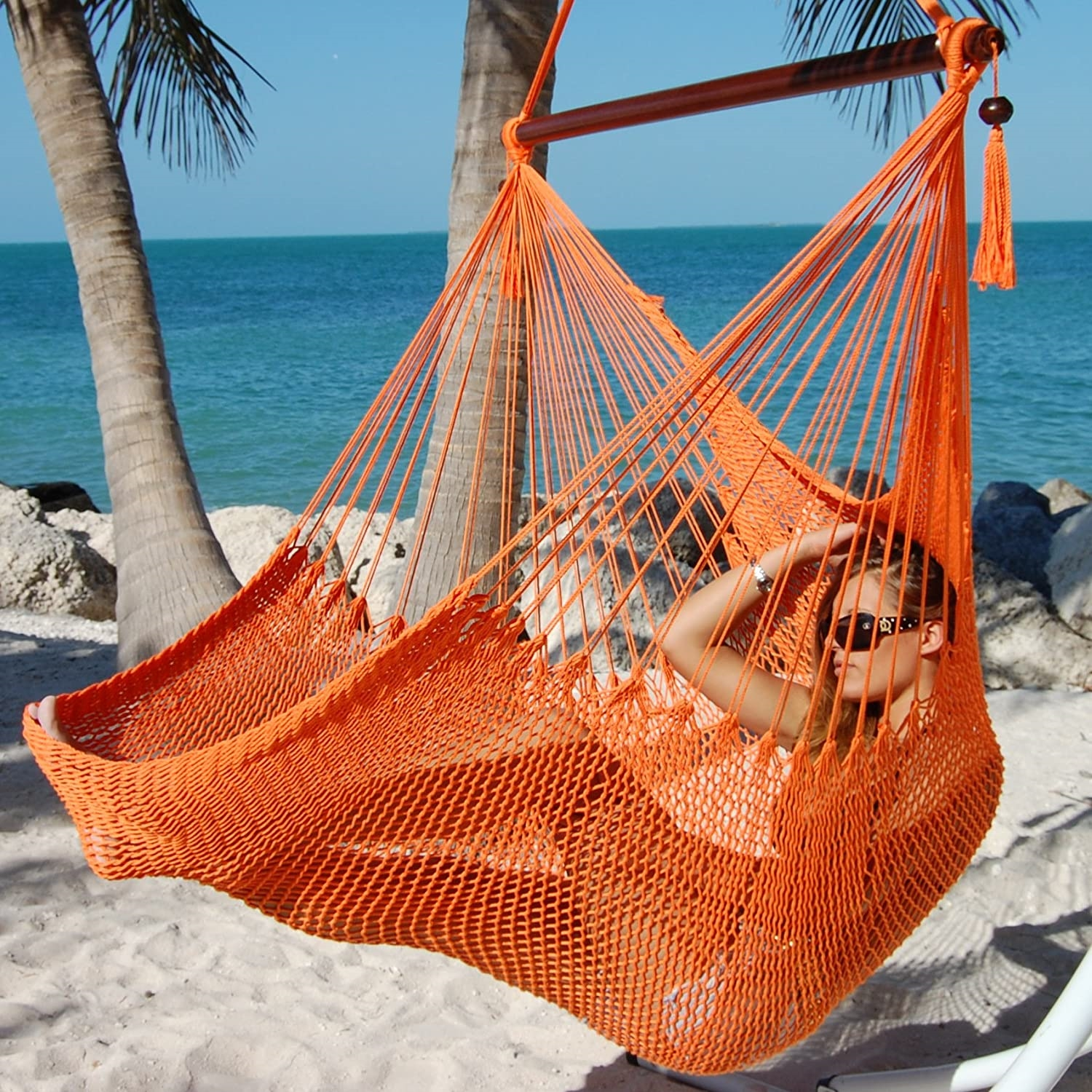 Large Caribbean Hammock Chair With Footrest ORANGE POLYESTER