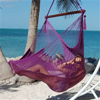 Large Caribbean Hammock Chair with Footrest (PURPLE POLYESTER)