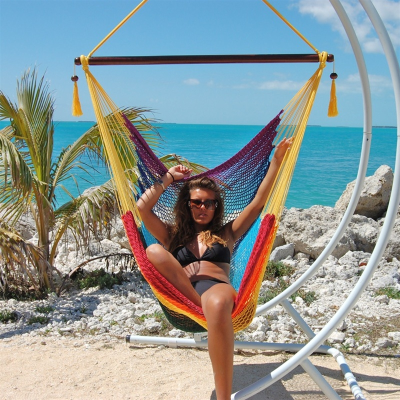 Large Caribbean Hammock Chair With Footrest RAINBOW POLYESTER