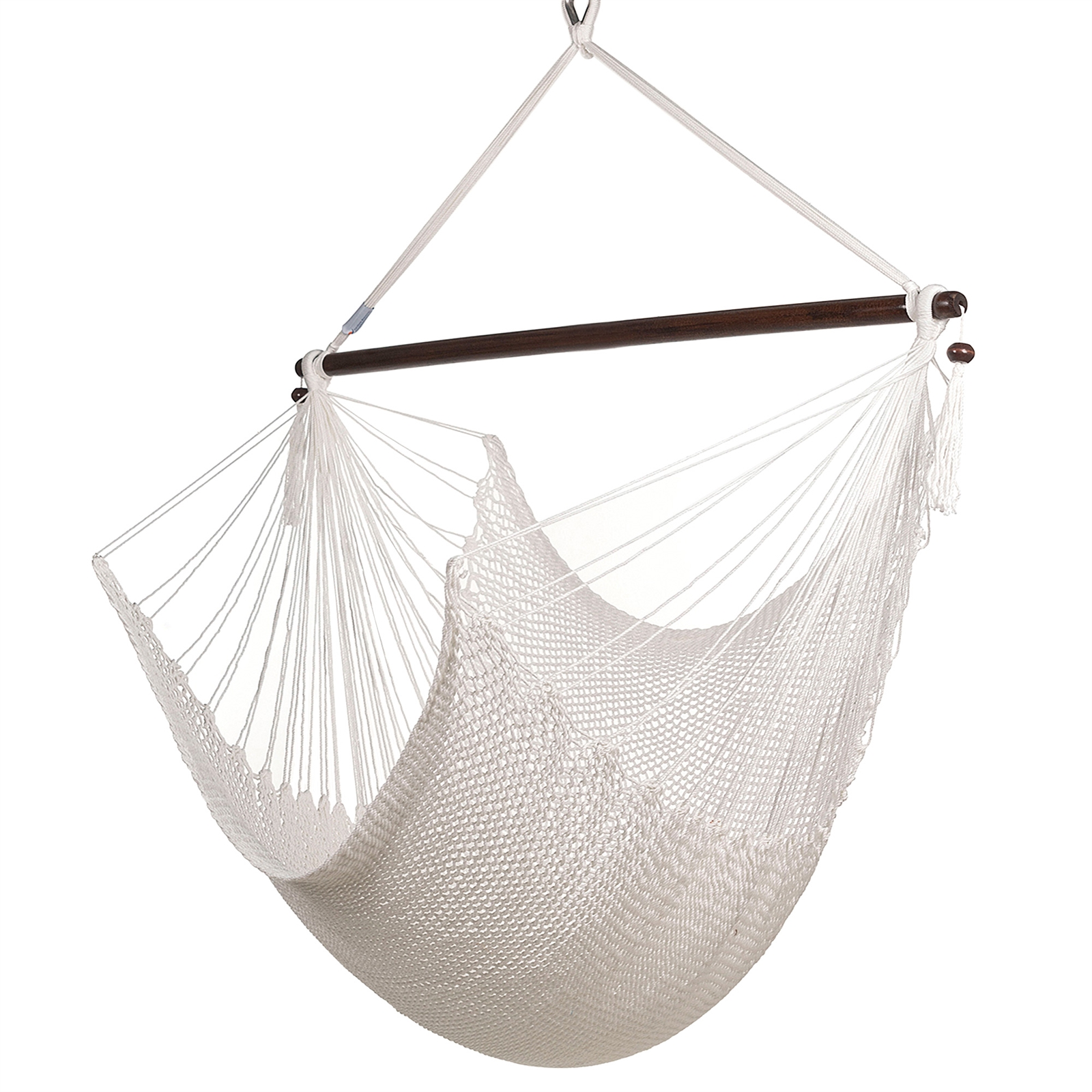 Large Caribbean Hammock Chair With Footrest White Polyester