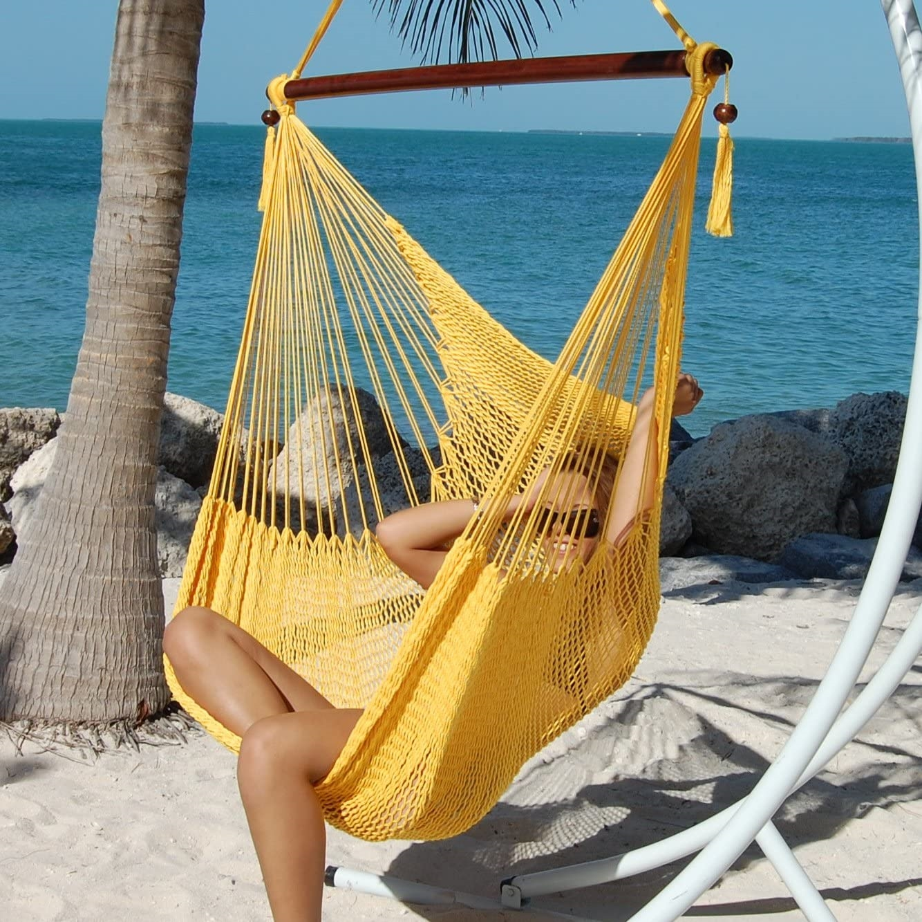 large caribbean hammock chair with footrest  yellow polyester   rh   kwhammocks